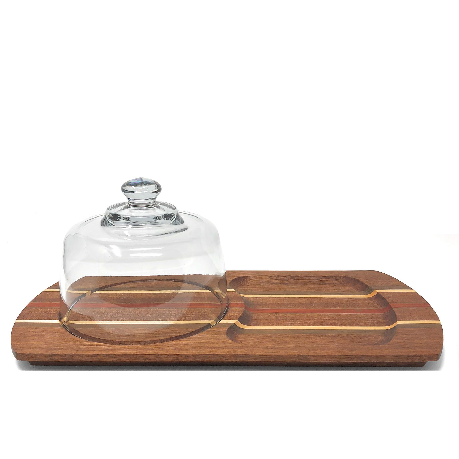 Mystic Woodworks Cheese Tray with Glass Dome, Medium/Dark