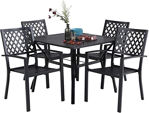 PHI VILLA 5 Piece Metal Patio Armrest Dining Chairs and Larger Square Table Set