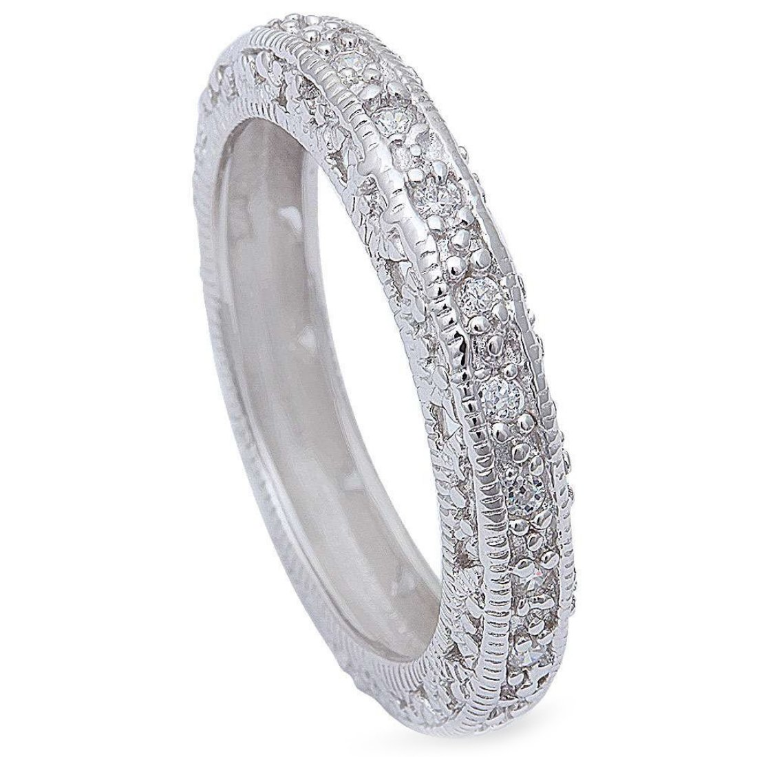 4.3mm Vintage Antique Design Full Eternity Stackable Band Ring Round Cubic Zirconia 925 Sterling Silver, Size-7