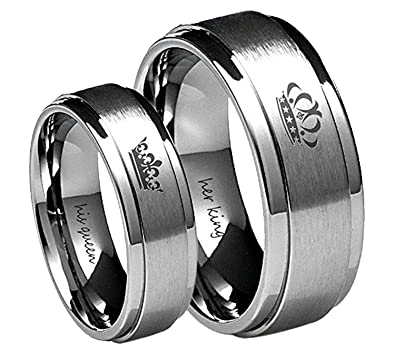 Amazon.com: Her King/His Queen Ring Silver Stainless Steel Wedding ...