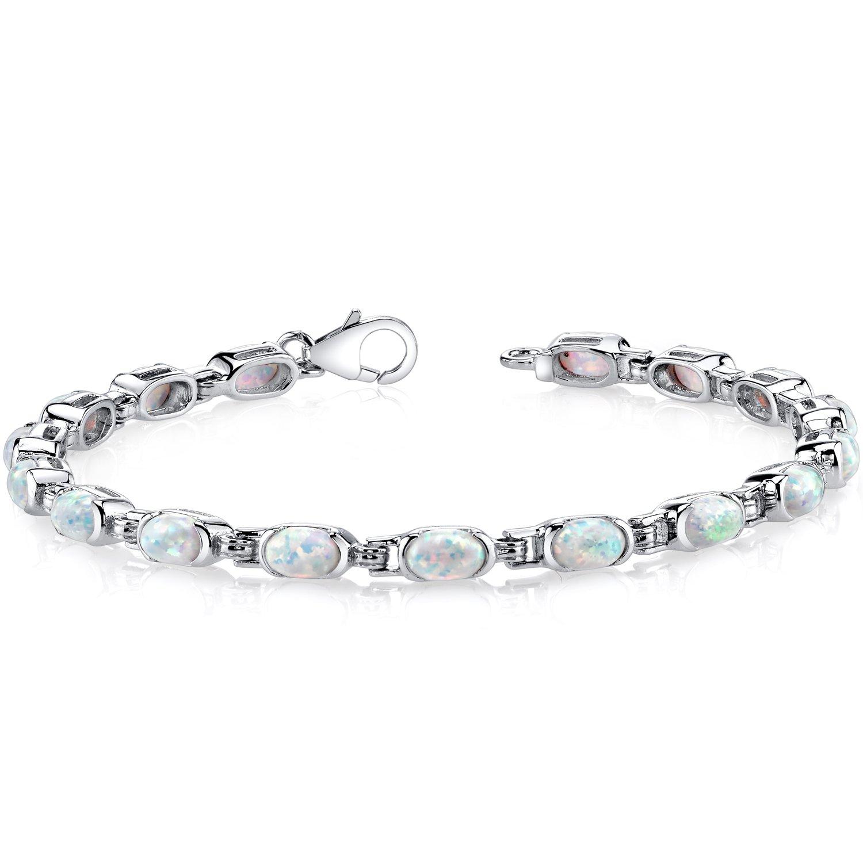 Created Opal Tennis Bracelet Sterling Silver Oval Cut 4.75 Carats