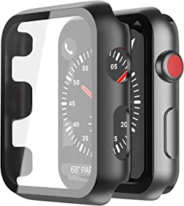 [2Pack] Misxi Black Hard Case Compatible with Apple Watch Series 3 Series 2 42mm, Hard PC Case Slim Tempered Glass Screen Protector Overall Protective Cover for iwatch