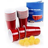 100 Rote Becher, Red Party Beer Pong Cups 16 oz. 473 ml rot inkl. 6 Beer Pong Bälle und Beer Pong Regelwerk