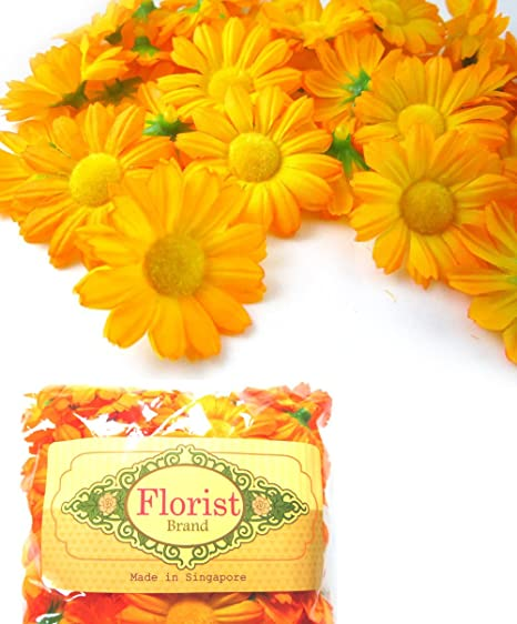 "(100) Silk Yellow Orange Gerbera Daisy Flower Heads , Gerber Daisies 1.75"" Artificial"