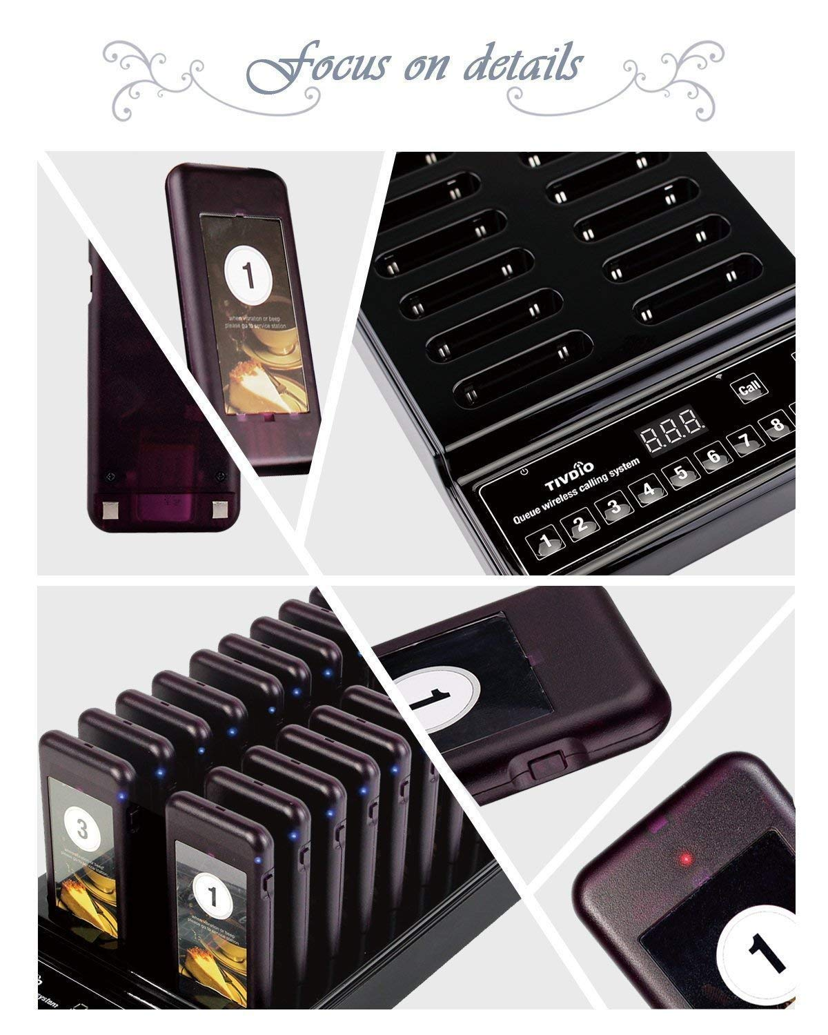 Retekess T112 Restaurant Pager System Queue Wireless Calling System Long Transmission Distance with 30 Coaster Pagers 999 Channel Keypad for Church Nursery Food Truck Coffee Shop by Retekess (Image #3)
