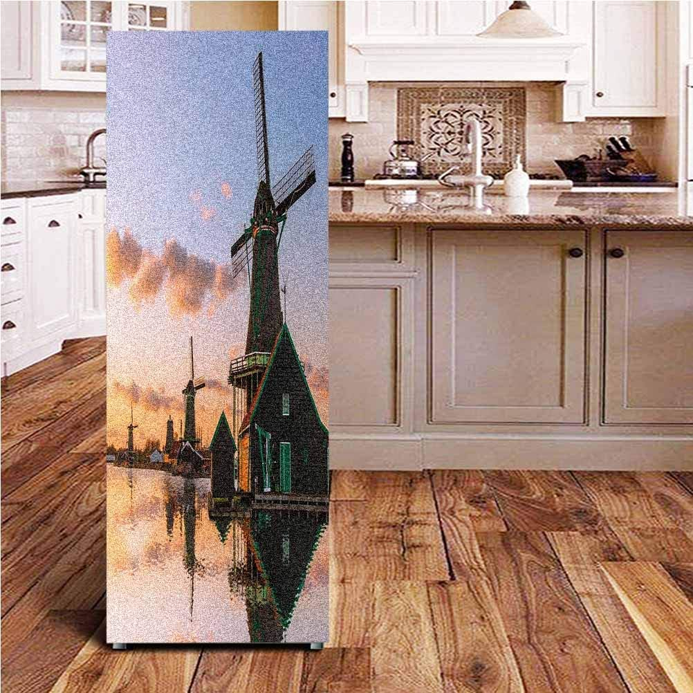 Angel-LJH Windmill Decor 3D Door Fridge DIY Stickers,Traditional Village with Canal Waterfront Dutch Architecture Scenic View Door Cover Refrigerator Stickers for Home Gift Souvenir,24x70