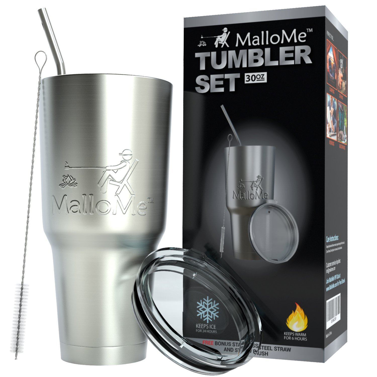 MalloMe Tumbler 30 oz. Double Wall Stainless Steel Vacuum Insulated - Travel Mug [Crystal Clear Lid] Water Coffee Cup [Straw Included] For Home,Office,School - Works Great for Ice Drink, Hot Beverage