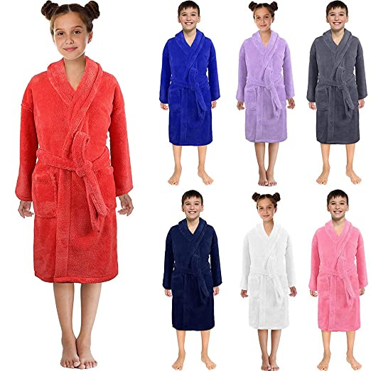 75e22e2d0562 Amazon.com  3-12 Years Toddler Solid Flannel Bathrobes Towel Baby ...