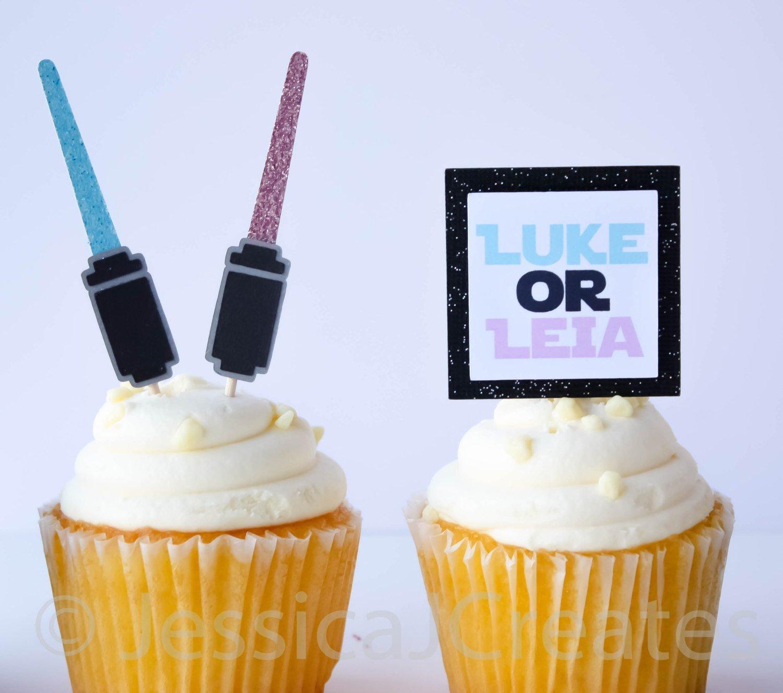 Gender Reveal Star Wars Cupcake Toppers Luke Or Leia Cupcake