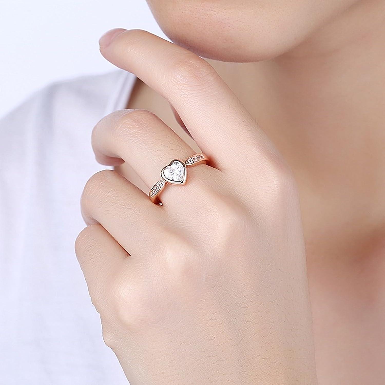 Adisaer Joyería Cobre Anilloe Damas Oro Rosa Línea Cristal Corazón ...