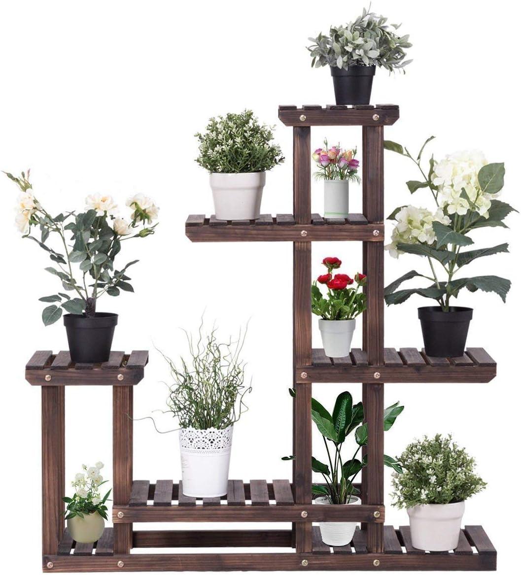 Wood Flower Pot Bonsai Rack Holder Indoor Home Garden Display Plant Stand Shelf