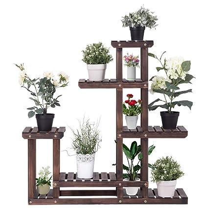 1dcdd54d2b47 Giantex Flower Rack Plant Stand Multi Wood Shelves Bonsai Display Shelf  Indoor Outdoor Yard Garden Patio