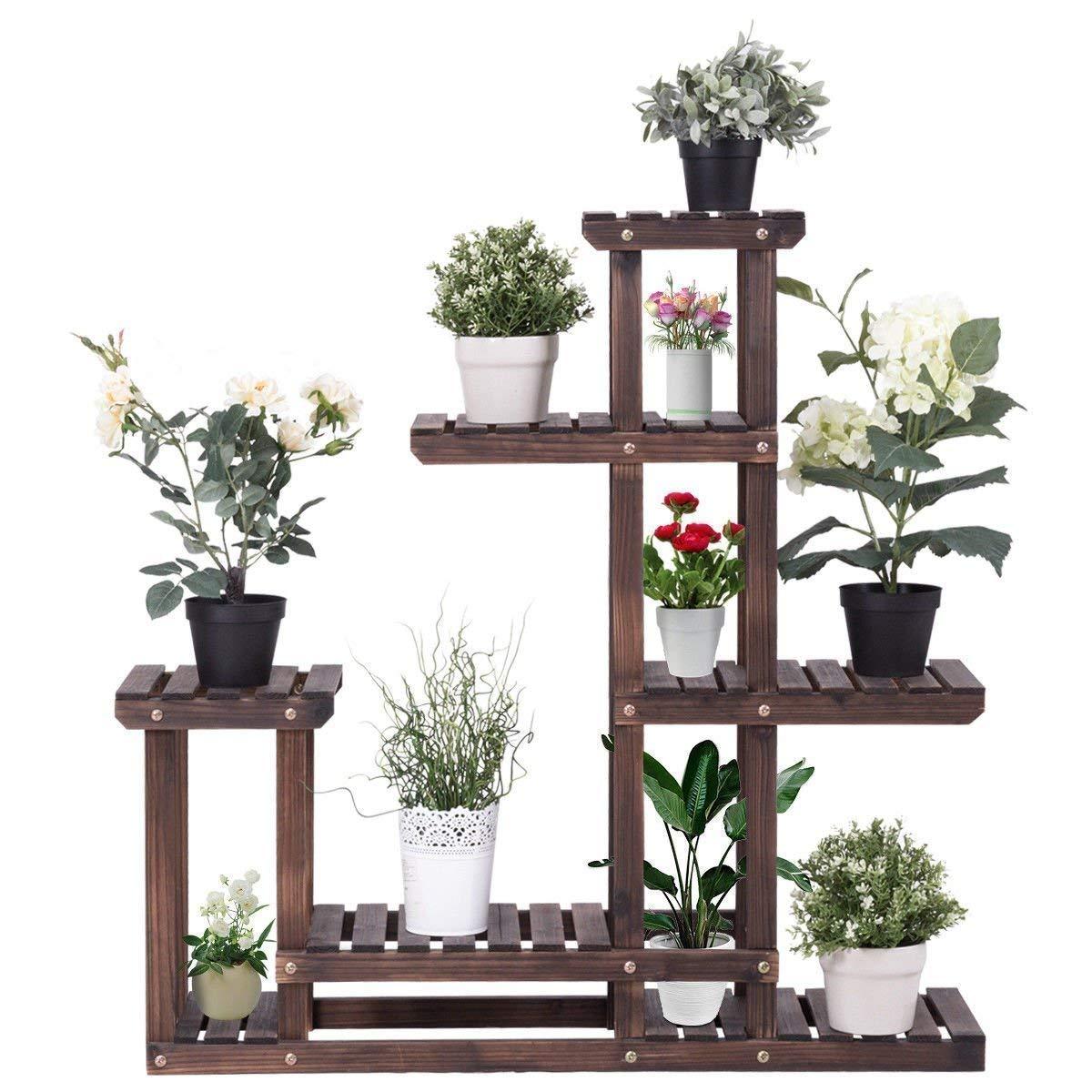 Giantex Flower Rack Plant Stand Multi Wood Shelves Bonsai Display Shelf Indoor Outdoor Yard Garden Patio Balcony Multifunctional Storage Rack Bookshelf W/Hollow-Out Rack (6 Wood Shelves 10 Pots)