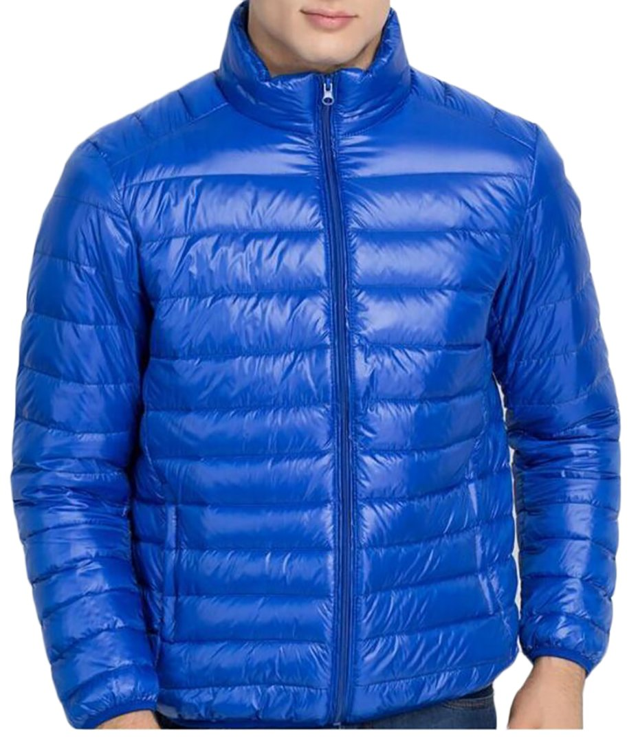 Cruiize Men's Classic Stand Collar Packable Lightweight Down Jackets Jewelry Blue s