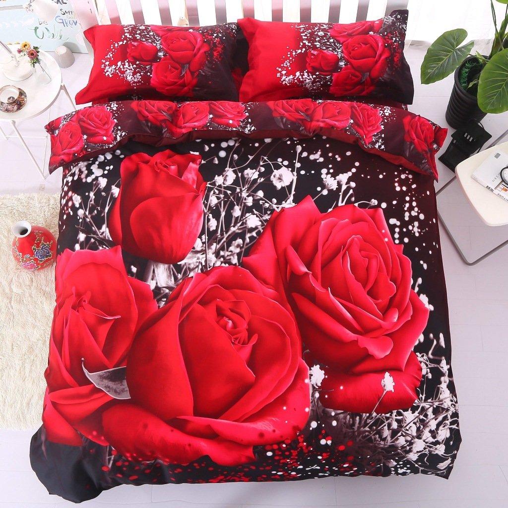Beddingin 3d Red Rose Bedding Set Cotton 4-Piece Duvet Covers Luxury 3d Rose Bed Linens Oversize Bed Cover Set (California King)