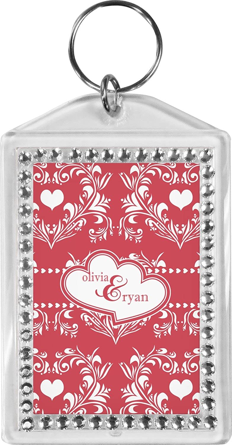 Heart Damask Bling Keychain (Personalized)