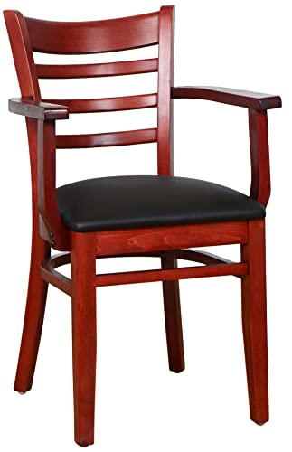 Beechwood Mountain BSD-5A-M Solid Beech Wood Arm Chair in Mahogany for Kitchen Dining