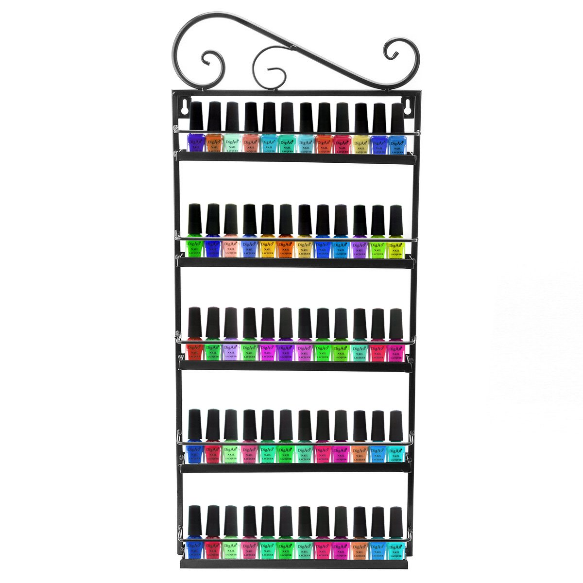 Dazone® Nail Polish Wall Rack Organizer Holds 50 Bottles Nail Polish Shelf Black by Dazone