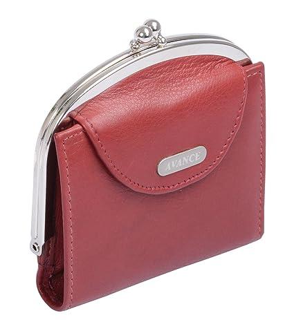 Avanco Womens Leather Snap Purse 4.1 x 3.9 x 0.6 inch Black ...