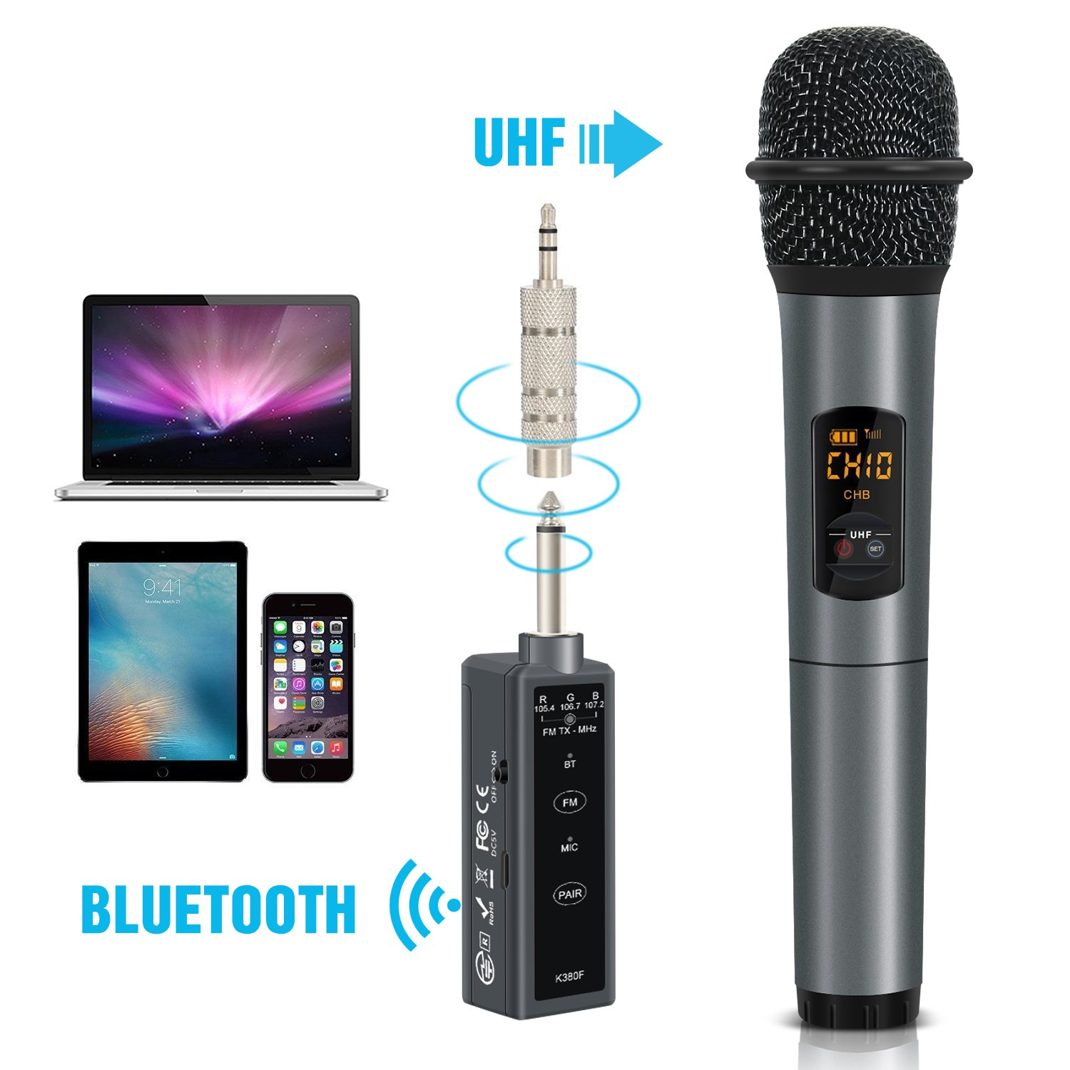 TONOR UHF Handheld Wireless Microphone with Mini Bluetooth Receiver 1/4 Output for Conference/Karaoke/Weddings/Church/Stage/Party 4336300789