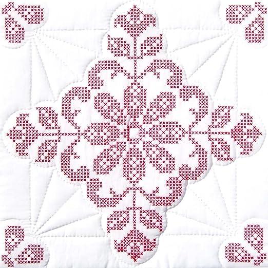 Jack Dempsey Needle Art 18 inch XX Stars Quilt Blocks White
