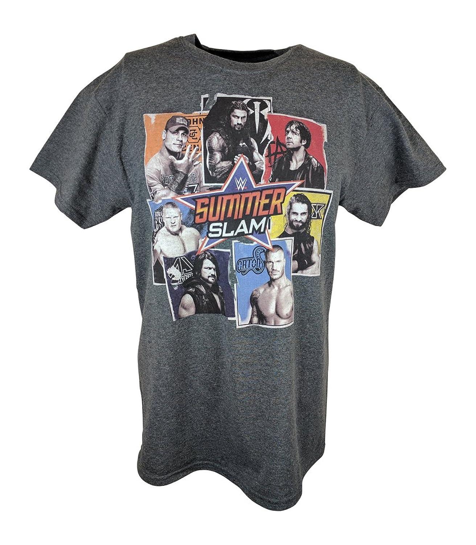 WWE Summerslam Logo Cena Reigns Rollins Men's Grey T-shirt