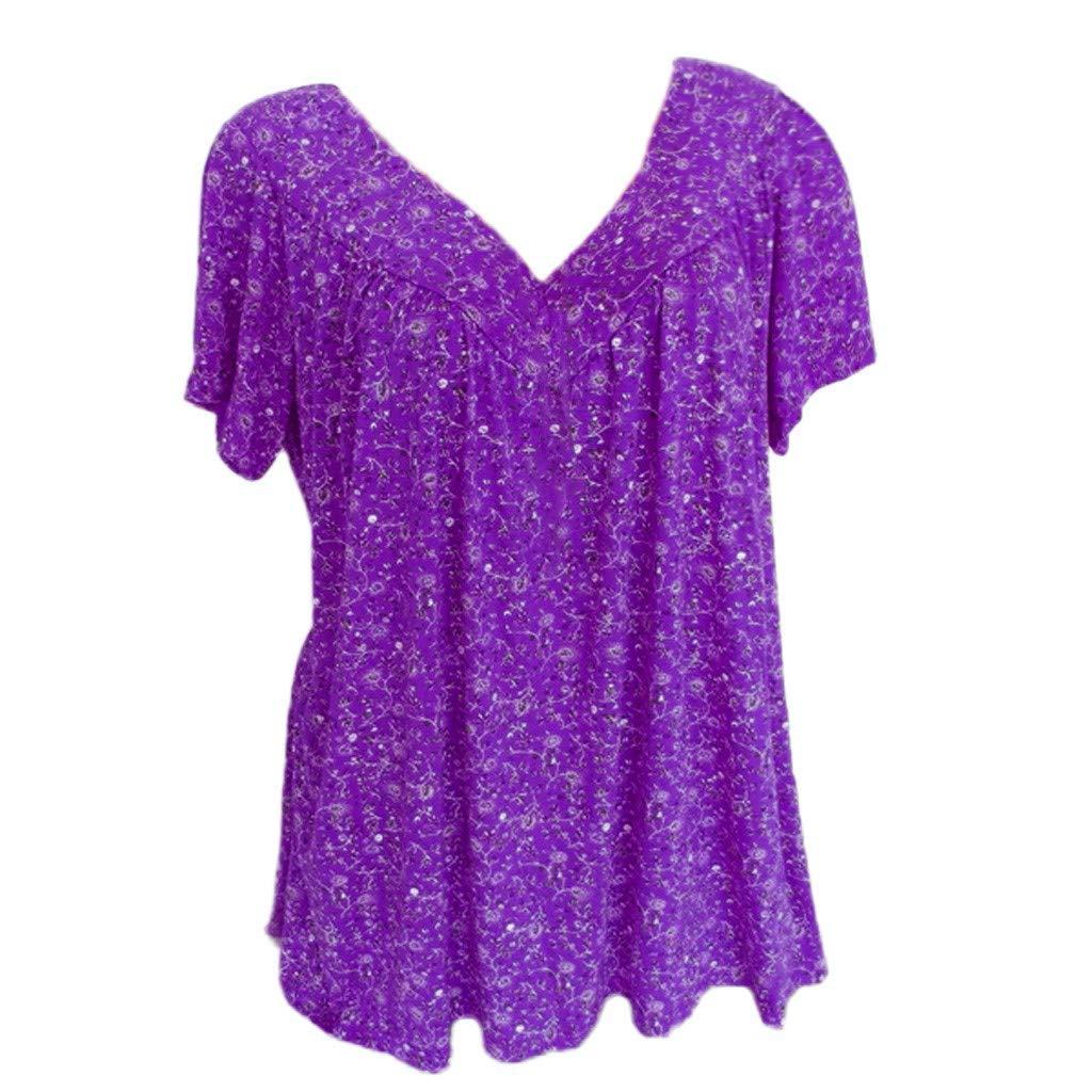 T Shirt for Women Plus Size,Women's Short Sleeves V-Neck Print Loose Blouse Pullover Tops Shirt S-5XL Purple