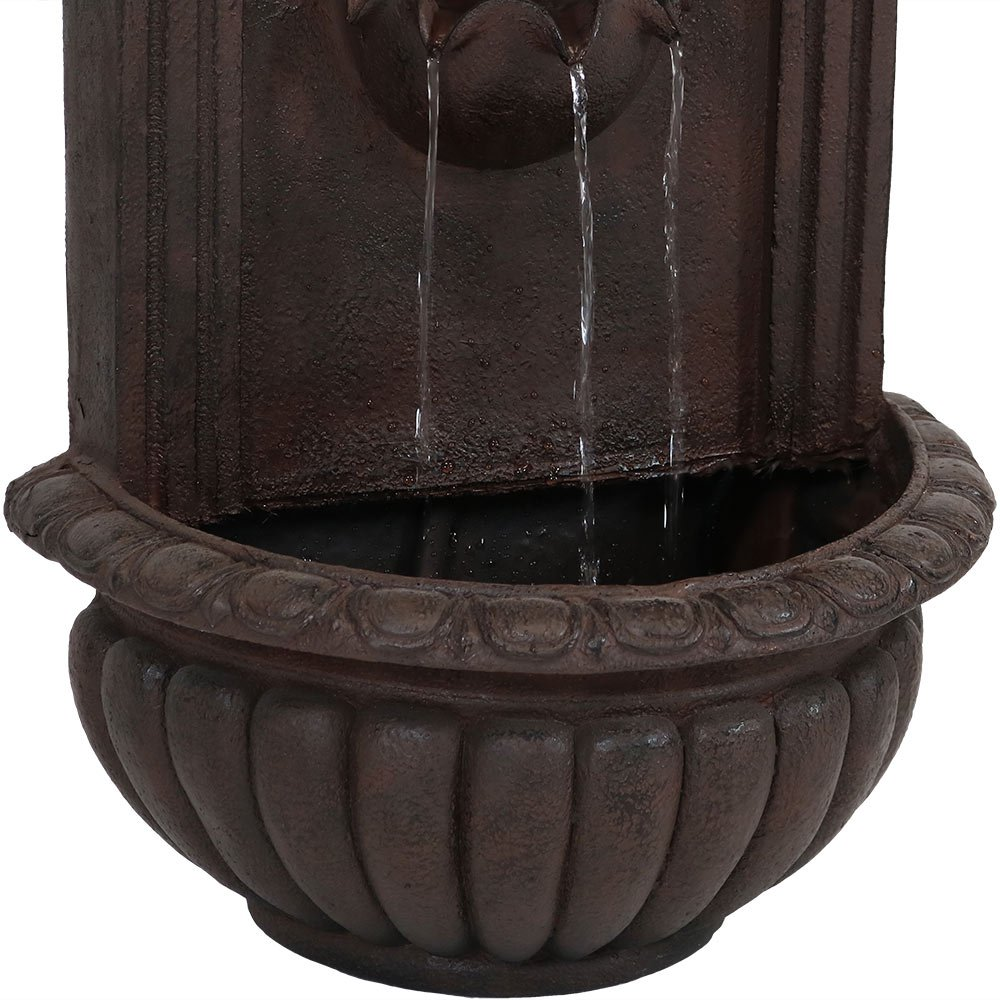Florentine Stone Finish Sunnydaze Florence Outdoor Wall Fountain 27 Inch