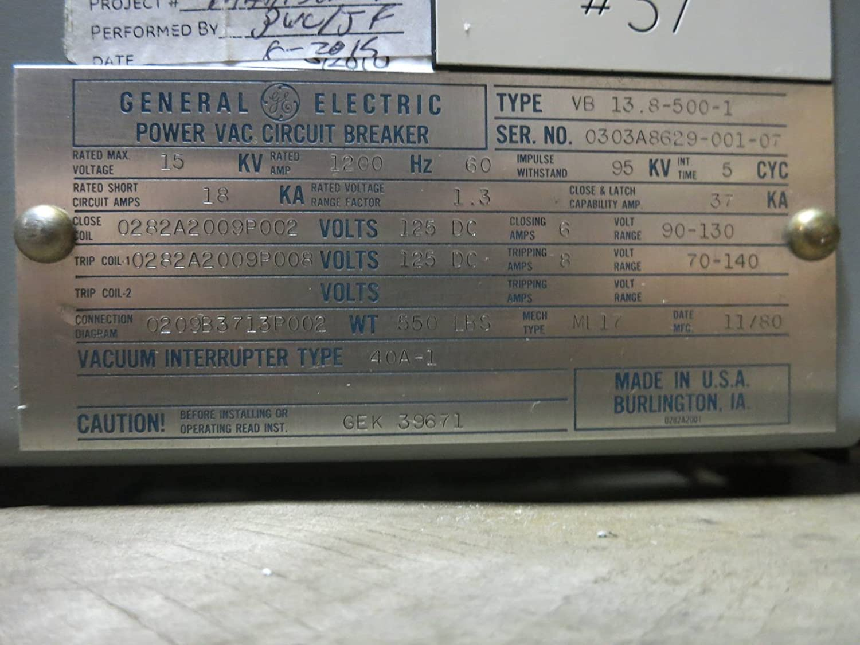 Ge Power Vac 1200a Vb 138 500 1 15 Kv Vacuum Breaker General Panel Wiring Diagram Electric Powervac Industrial Scientific