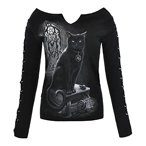 Top Pizzo Up Spiral Direct Witch Cat (Nero)