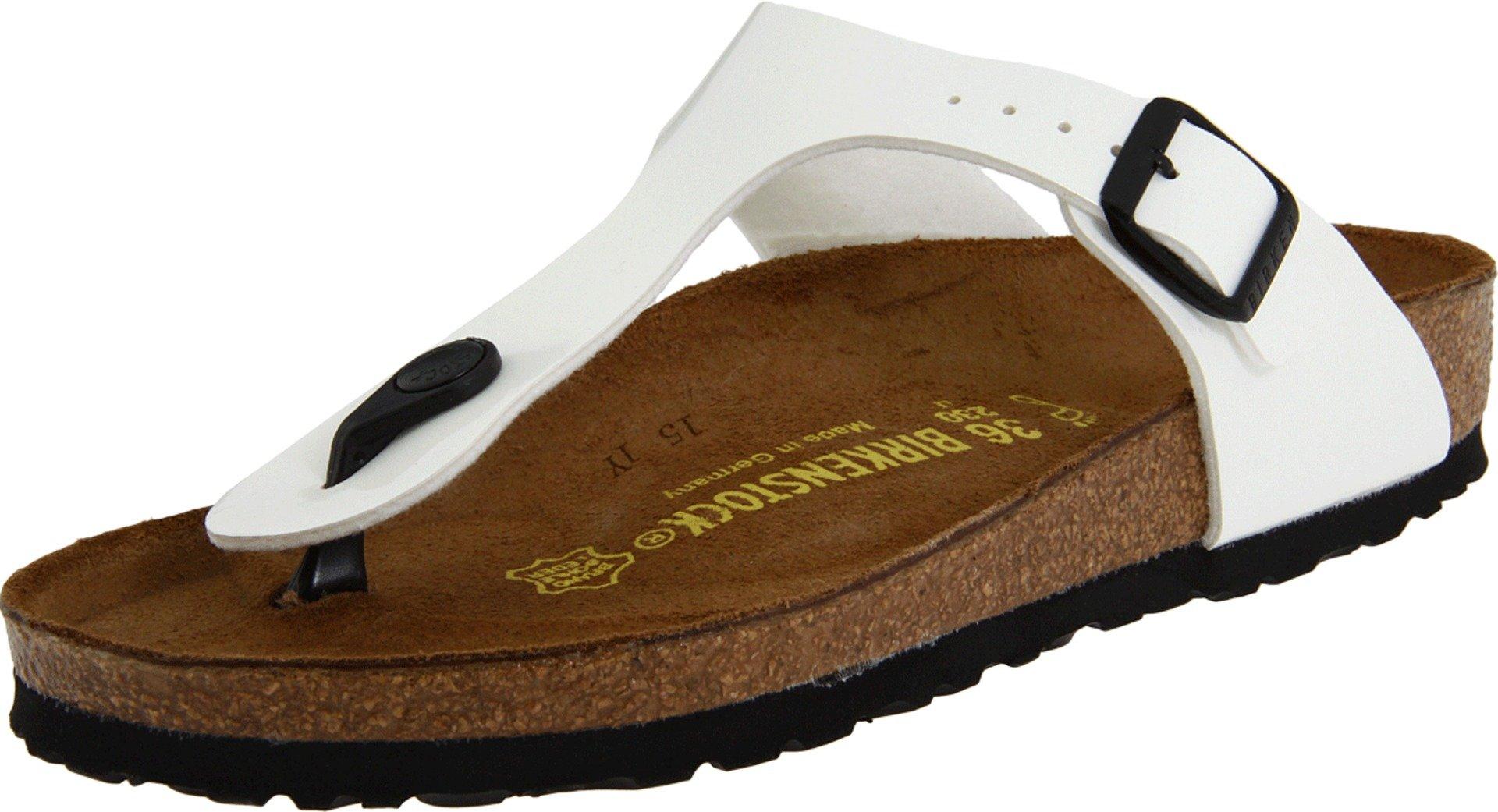 Birkenstock Women's Gizeh Bright White Patent Birko-Flor Sandals 40 R (US Women's 9-9.5)