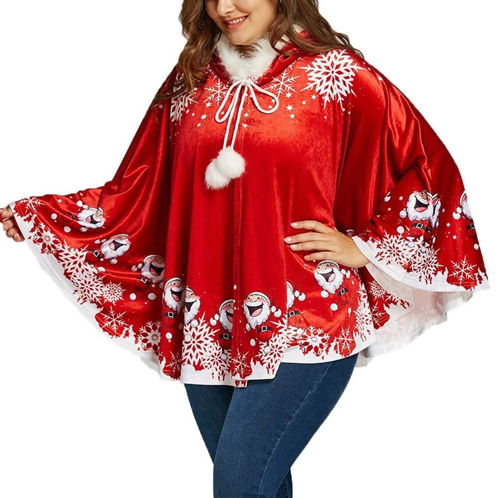 WUAI Women's Merry Christmas Happy Halloween Mrs Santa Claus Costume,Santa Cape Xmas Hooded Cloak Robe (Red,Large) by WUAI Christmas