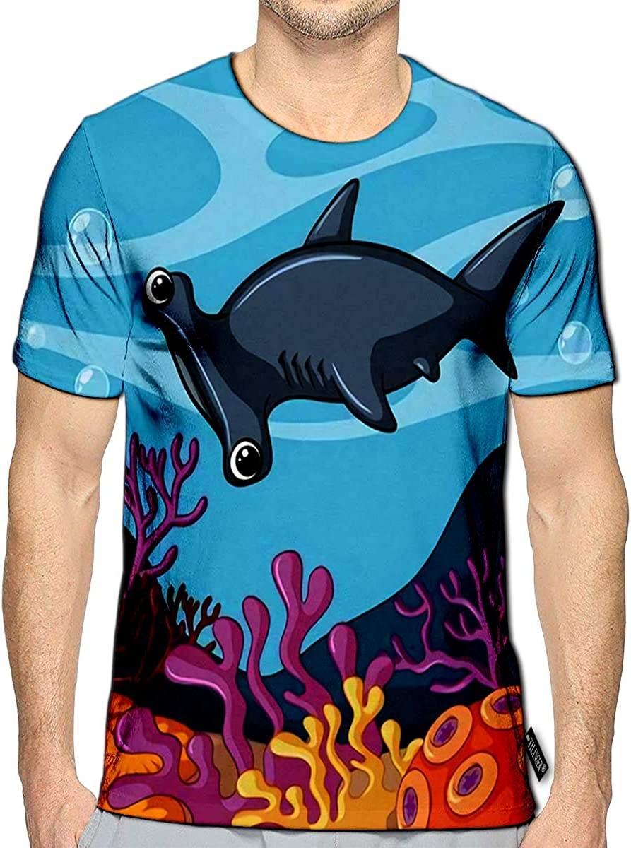 3D Printed T Shirts Hammerhead Shark Swimming Under The Ocean Casual Mens Hipster Top Tees