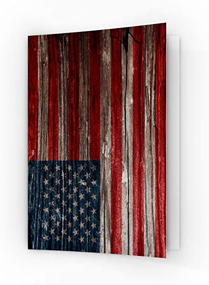Amerikanische Flagge 4 Teiliges Kissenbezugs Set Vintage aus Holz
