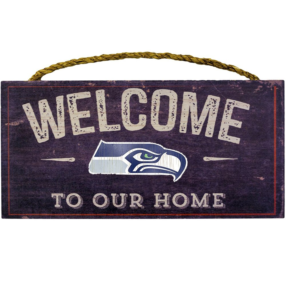 """Fan Creations Welcome Seattle Seahawks Distressed 6 x 12, 6"""" x 12"""", Multicolored"""