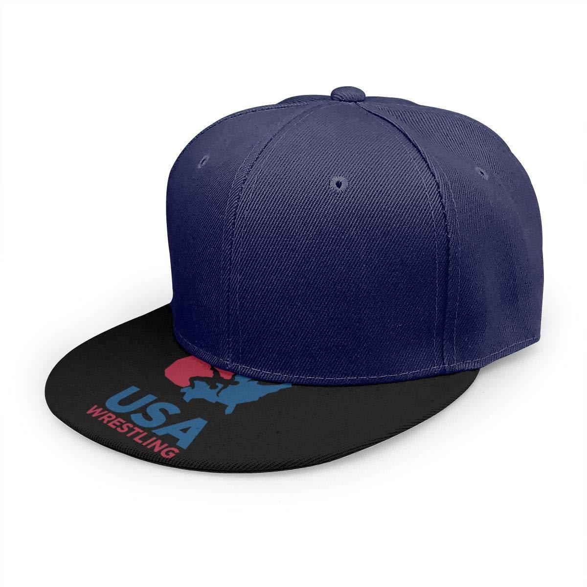 Adjustable Women Men USA Wrestling Logo Print Baseball Cap Flat Brim Cap Hats Hip Hop Snapback Sun Hat Boys Girls Navy by Apolonia