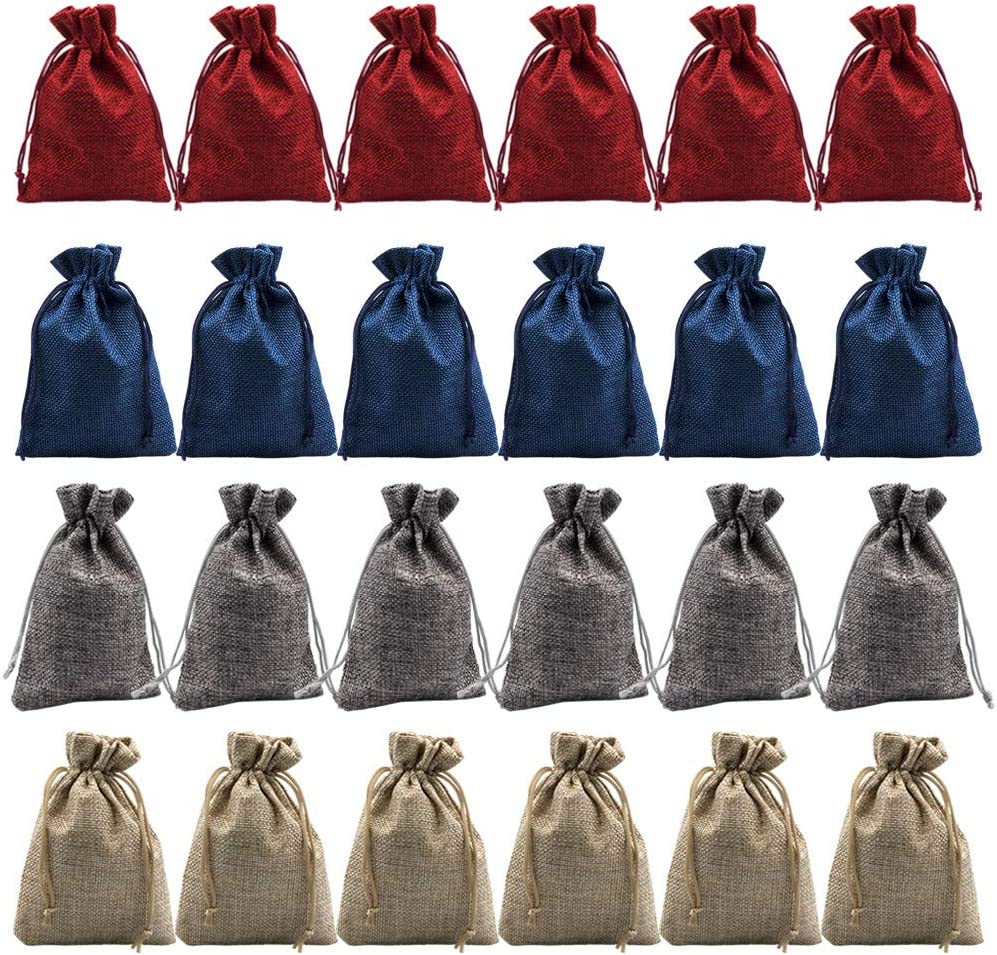24Pcs Advent Calendar Favor Bags Small Burlap Bags Pouch Jute Jewelry Trinket Bag Pouches Sack Candy Gift Bags for Wedding Thanksgiving Advents Calendar Christmas