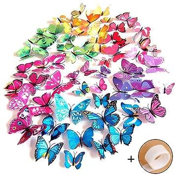 Imbry 72 Stuck 3d Schmetterling Aufkleber Wandsticker Wandtattoo
