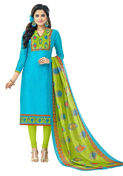 227a136274 Kimisha Sky Blue Chanderi Dress Material With Fancy Printed Dupatta  (Printed Suit): Amazon.in: Clothing & Accessories