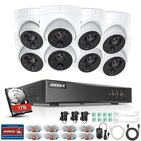 ANNKE Kit de 8 Cámaras de vigilancia 1080P PIR Detección de Movimiento Alarma de luz Intermitente