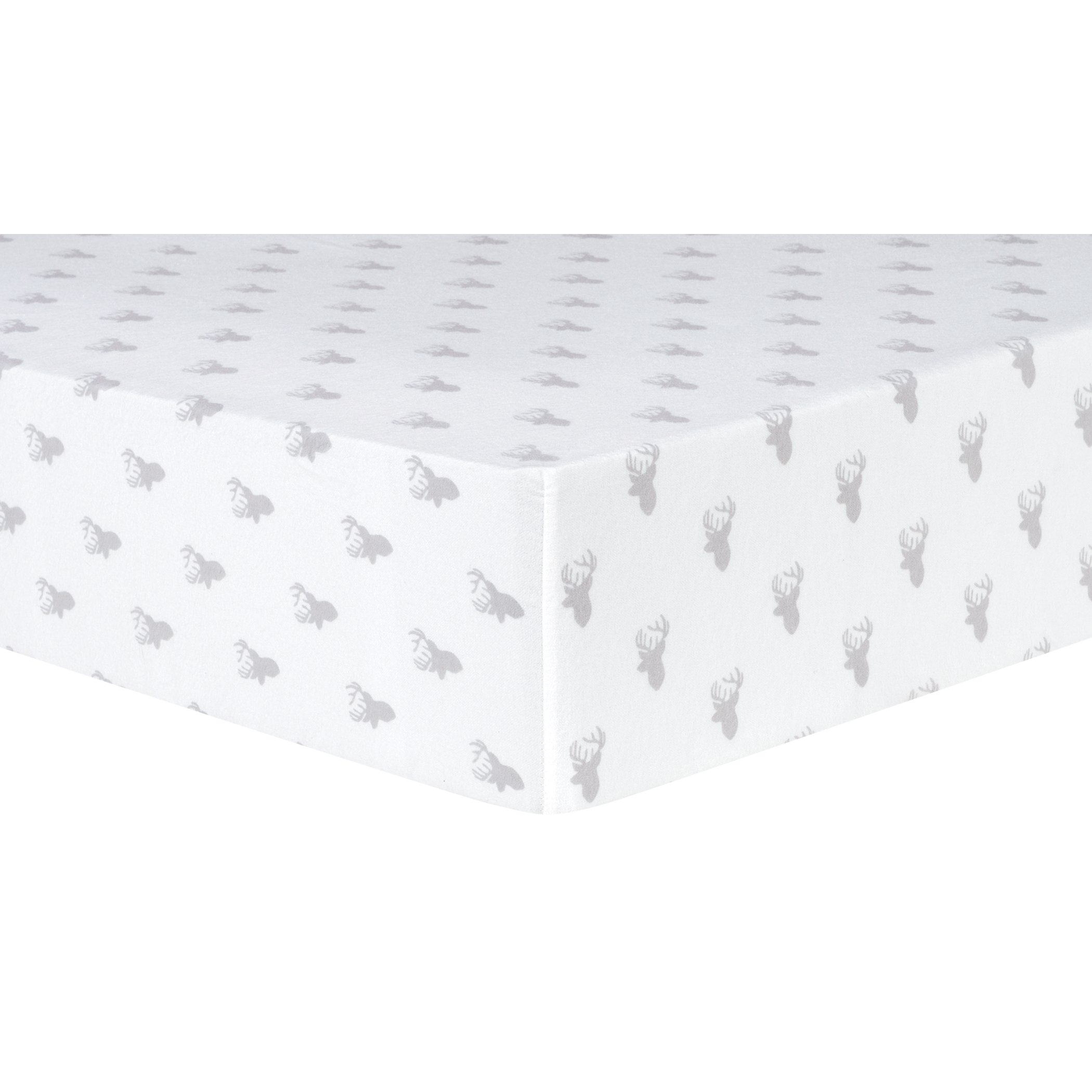 Trend Lab Gray Stag Silhouettes Deluxe Flannel Fitted Crib Sheet