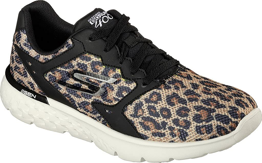 Skechers 14354 BKNT Damen Go Run 400 Feline Sneaker 38, Mesh-Material Textilsohle, Groesse 38, Sneaker schwarz/beige - 8b0445