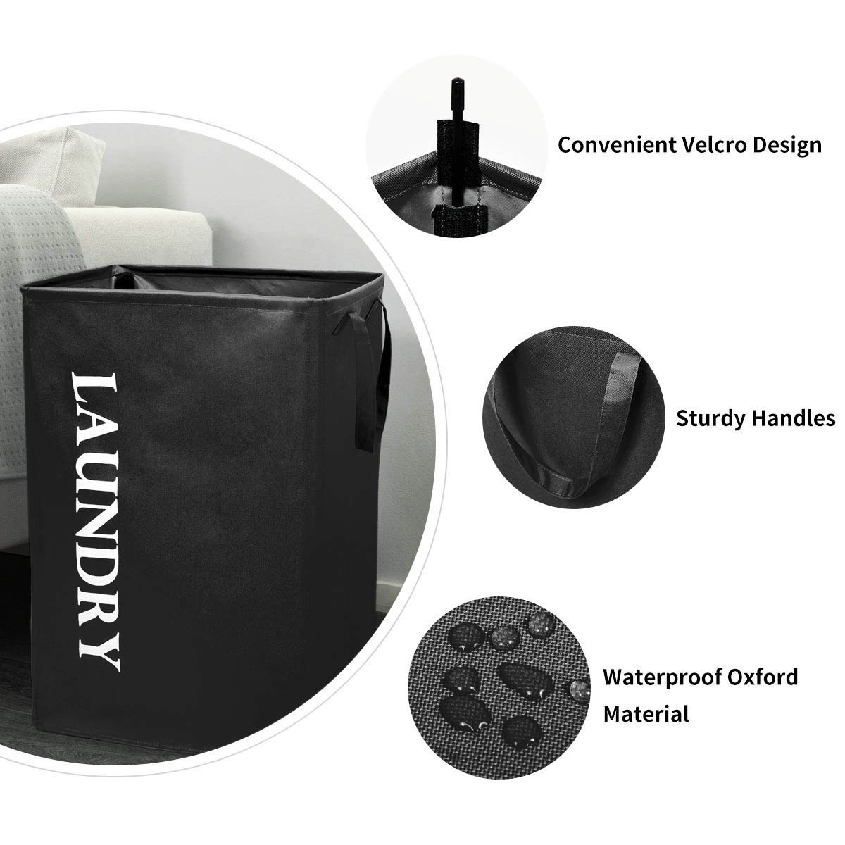Chrislley Foldable Laundry Basket Large Standing Handy Rectangular Laundry Bin 600D Oxford Fabric Waterproof Laundry Hamper 73.6L (Black)