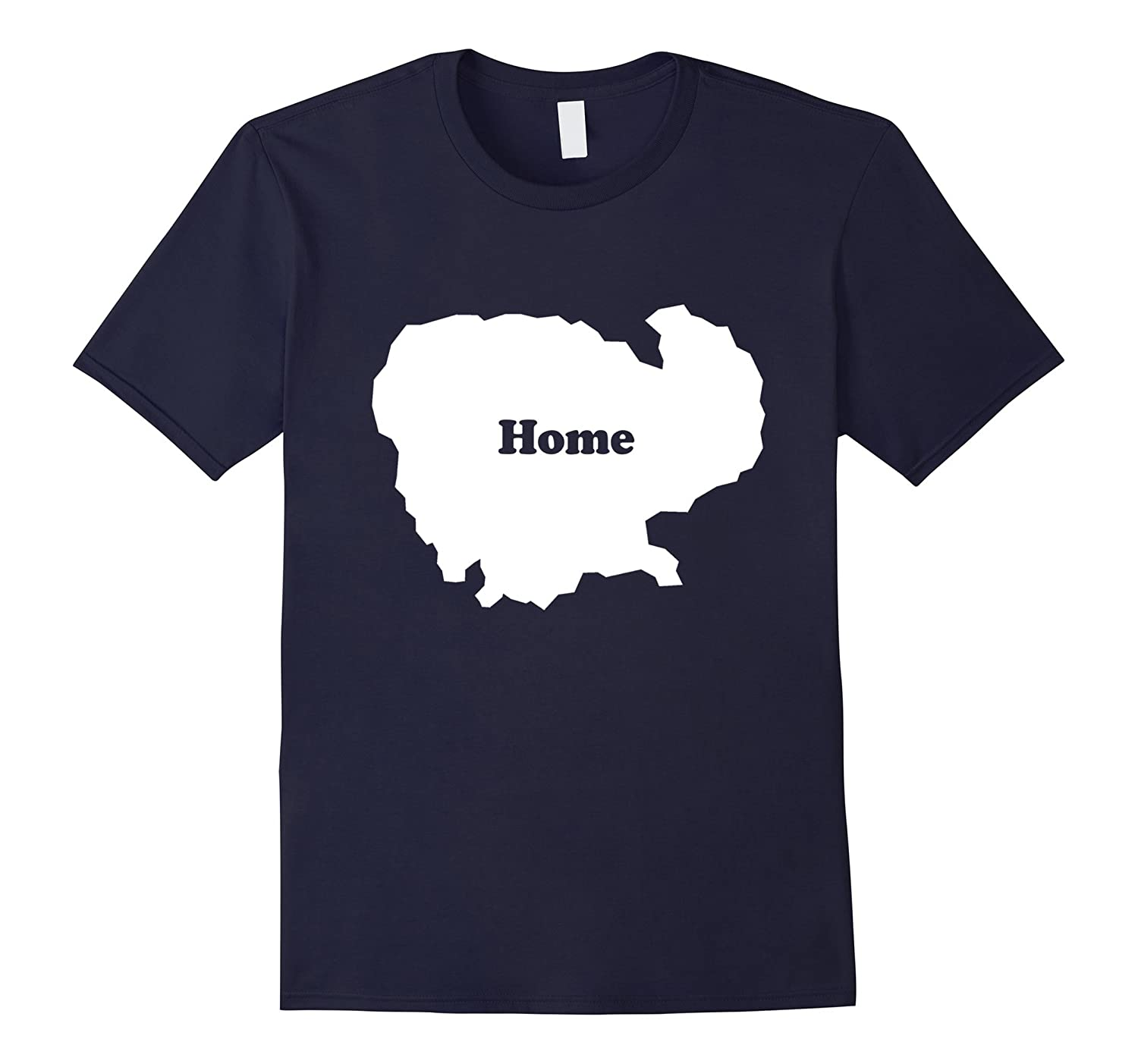 Cambodia Home Map Outline Shape Funny T-Shirt-CD