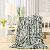 Advancey 100 Dollar Bill Money Pattern Flannel Fleece Throw Blanket Lightweight Cozy Bed Sofa Blankets Super Soft Fabric,39x4