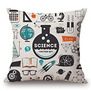 "JES&MEDIS Mathematical Formula Equation DoodleThrow Pillowcases Cotton Linen Square Cushion Pillows Cover,18""X18"""