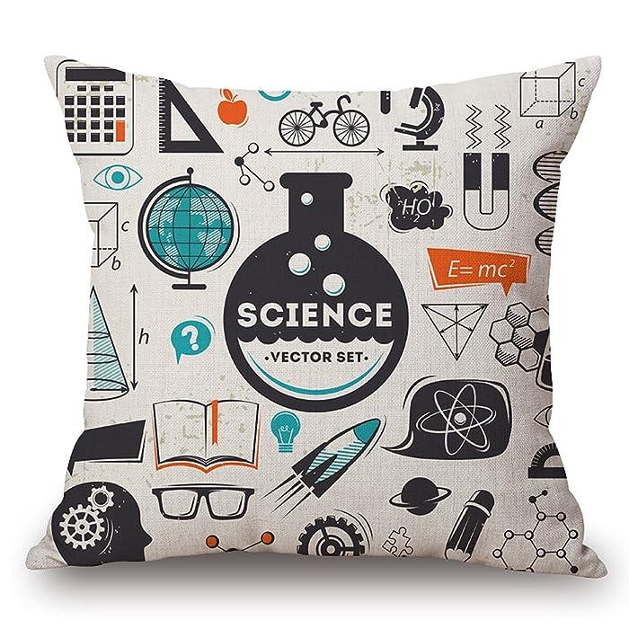 "JES&MEDIS Mathematical Formula Equation DoodleThrow Pillowcases Cotton Linen Square Cushion Pillows Cover,18""X18"""