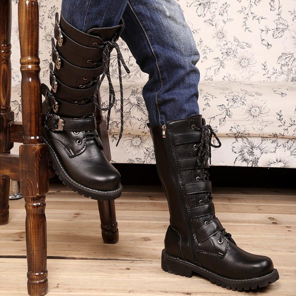 Shufang-schuhe Männer Schuhe Schnürung Gürtelschnalle Leder oberen Mitte Kalb Kampfstiefel Kampfstiefel Kampfstiefel für Herren Laufen eine Größe größer (Farbe   Schwarz, Größe   45 EU) b6d7aa