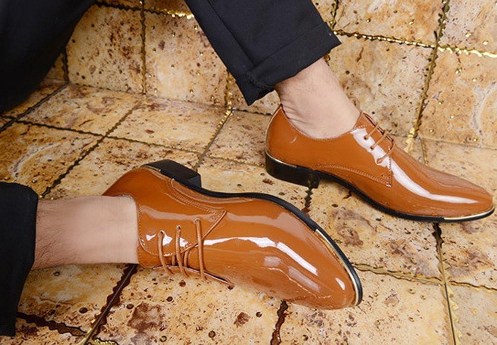 f77a522cb40a09 ... wealsex Derby Cuir Vernis Chaussure de Ville à Lacets Homme Bout Pointu  Chaussure Affaire Bureau Costume