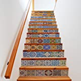 Extsud Set de 13 Pcs Sticker Carrelage Sticker Escalier Mosaïque DIY Autocollant Mural Style Mexicain 100x18cm/pcs